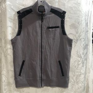G by GUESS GRAY BLACK SLEEVELESS ZIP UP VEST